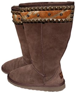 Gypsy Soule Suede Swarovski Accents Studded Embellished Brown Boots