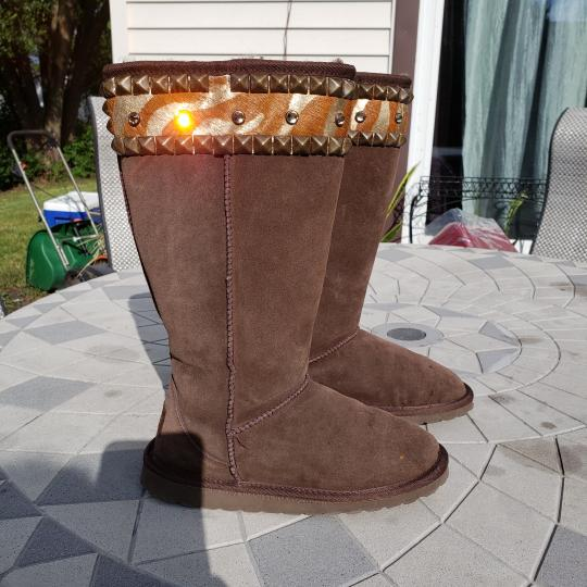 Gypsy Soule Suede Swarovski Accents Studded Embellished Brown Boots Image 1