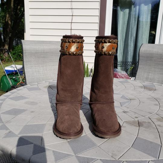 Gypsy Soule Suede Swarovski Accents Studded Embellished Brown Boots Image 2