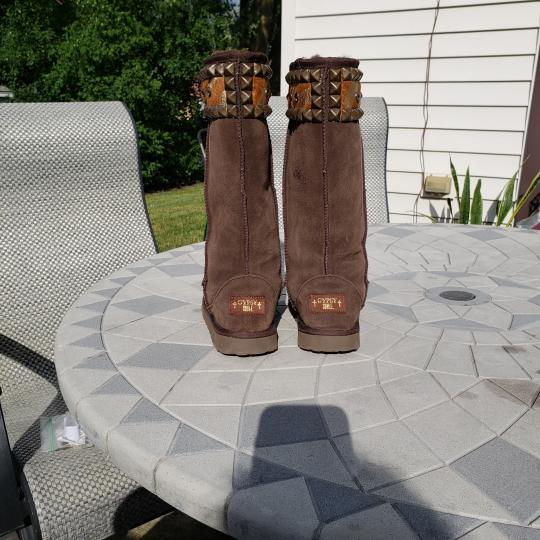 Gypsy Soule Suede Swarovski Accents Studded Embellished Brown Boots Image 3