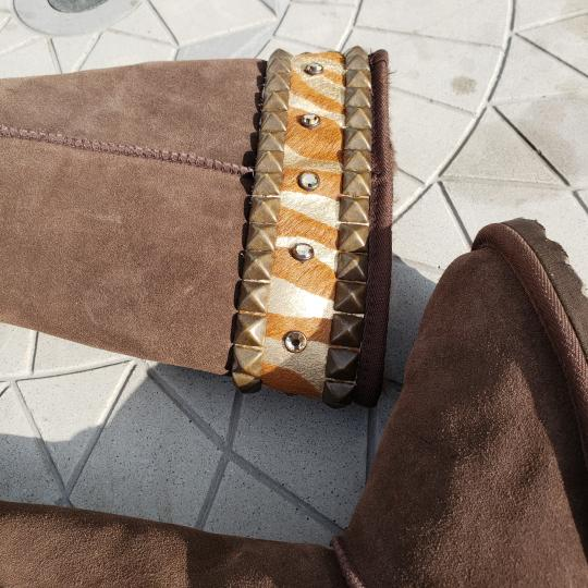 Gypsy Soule Suede Swarovski Accents Studded Embellished Brown Boots Image 7