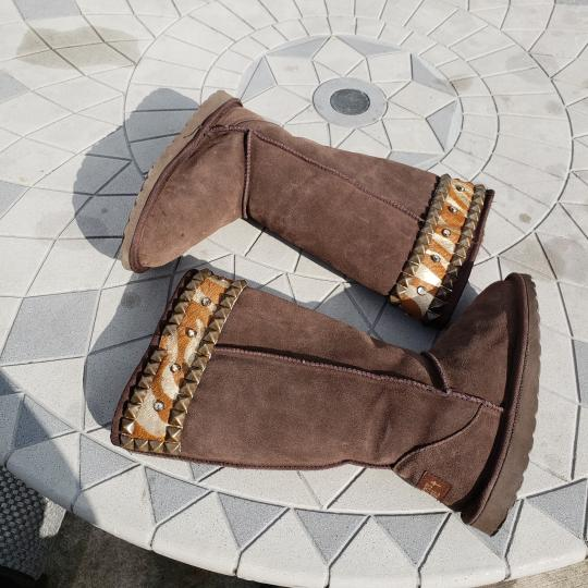 Gypsy Soule Suede Swarovski Accents Studded Embellished Brown Boots Image 8