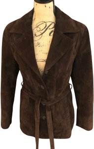 Wilsons Leather Suede Tie Lined Brown Leather Jacket