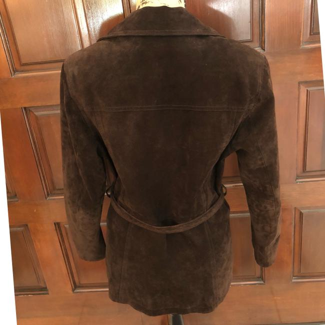 Wilsons Leather Suede Tie Lined Brown Leather Jacket Image 2