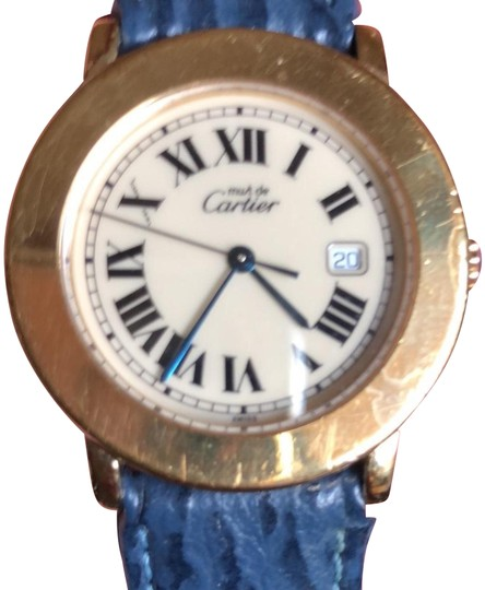 Preload https://img-static.tradesy.com/item/23817773/cartier-gold-blue-33mm-with-a-date-watch-0-2-540-540.jpg