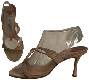 Jimmy Choo Formal Mule Suede Leather Mother Of Pearl Beige White Sandals