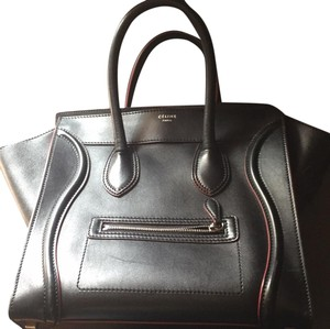 Céline Satchel in black with red
