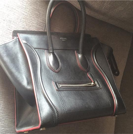 Céline Satchel in black with red Image 1