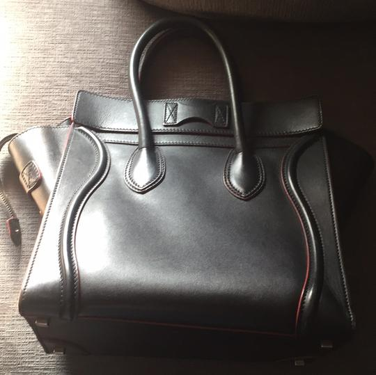 Céline Satchel in black with red Image 2