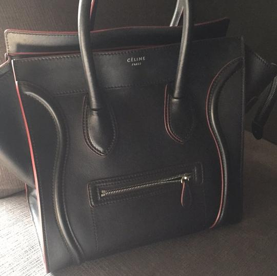 Céline Satchel in black with red Image 3