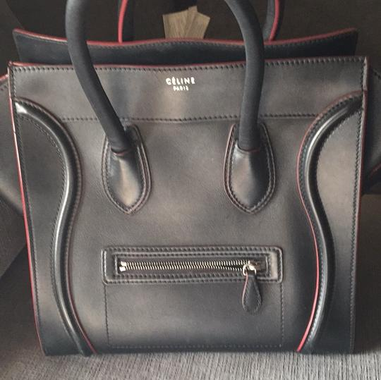 Céline Satchel in black with red Image 4