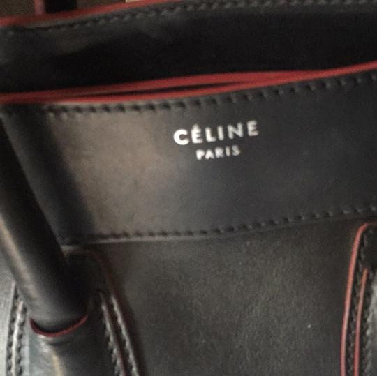 Céline Satchel in black with red Image 5