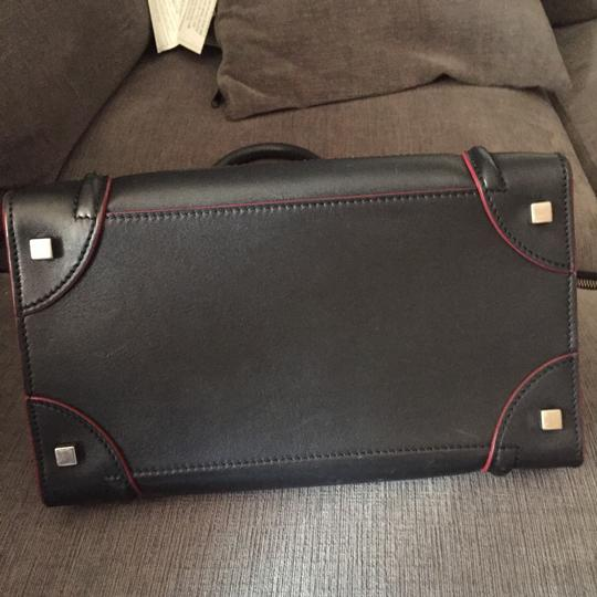 Céline Satchel in black with red Image 6