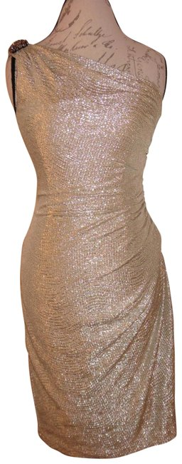 Item - Gold Sparkly Stretchy One-shoulder Brooch Shoulder Bodycon Mid-length Formal Dress Size 6 (S)