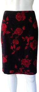 Talbots Pencil Velvet Floral Rose Skirt Black, Red.