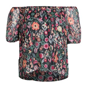 RED Valentino Floral Print Silk Top Black