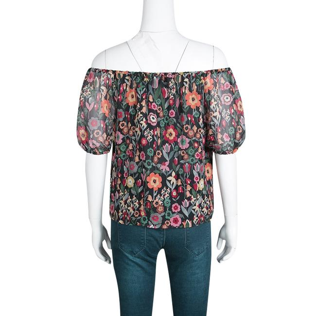 RED Valentino Floral Print Silk Top Black Image 1