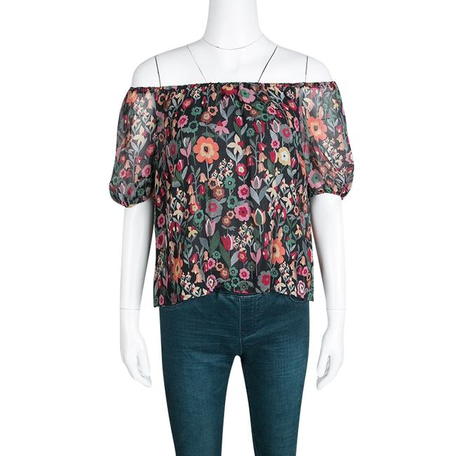 RED Valentino Floral Print Silk Top Black Image 2