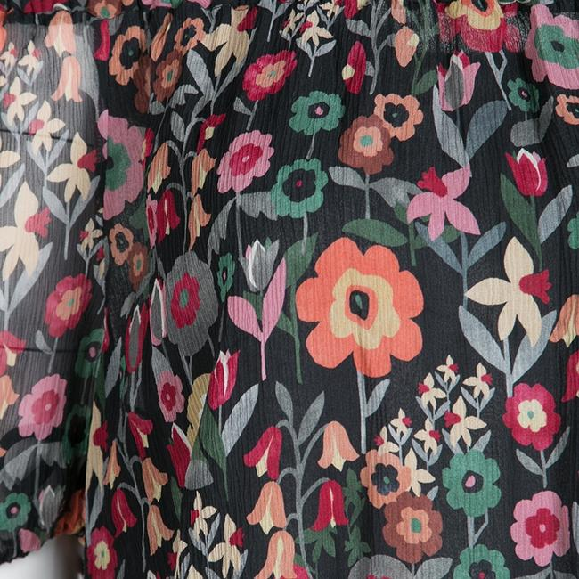 RED Valentino Floral Print Silk Top Black Image 5