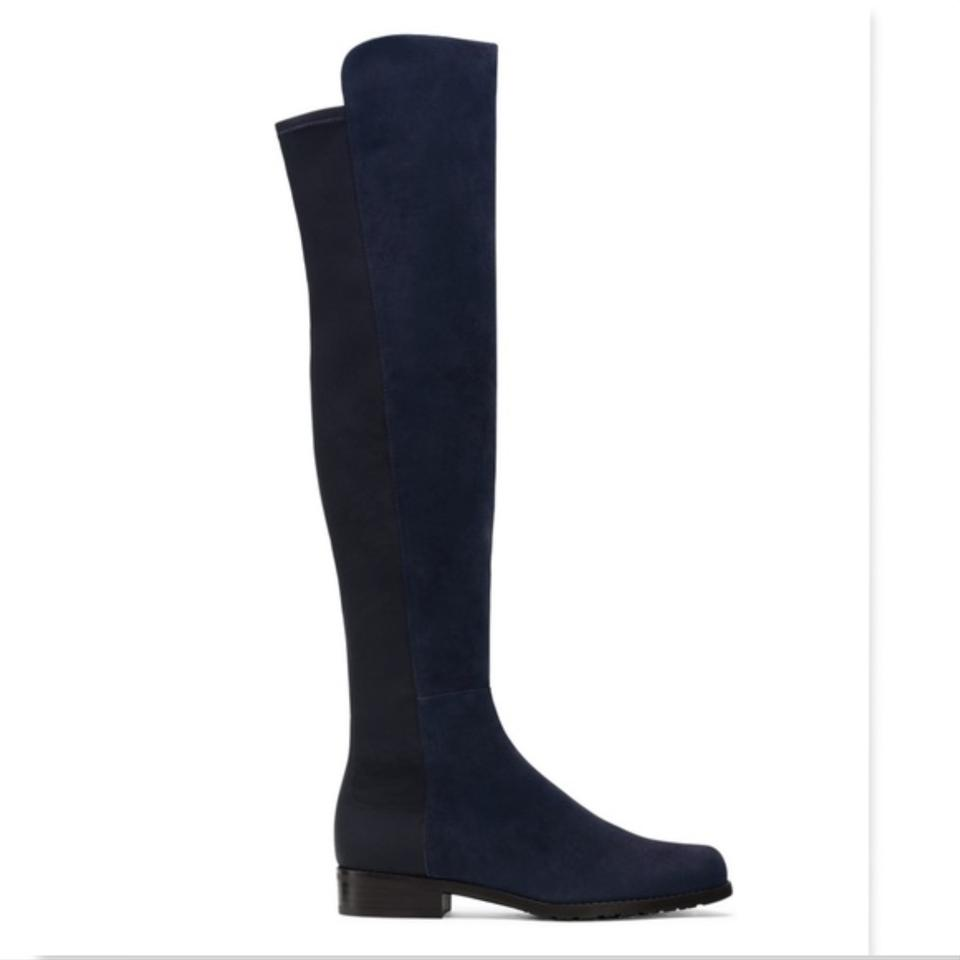 Over Leather The Suede Knee Booties Weitzman Stuart Boots Nice Blue xaqWRIX