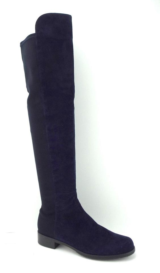 Suede Booties Nice The Blue Boots Over Stuart Leather Knee Weitzman 6qtHzxO