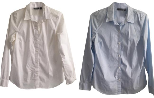 Preload https://img-static.tradesy.com/item/23818098/apt-9-blue-white-essentials-button-down-top-size-6-s-0-1-650-650.jpg