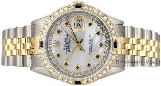 Preload https://item1.tradesy.com/images/rolex-white-mother-of-pearl-mens-datejust-36mm-two-tone-blue-diamond-watch-23818100-0-1.jpg?width=440&height=440