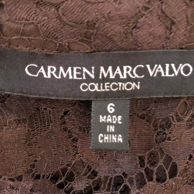 Carmen Marc Valvo short dress Brown Lace Silk Tie Slip on Tradesy