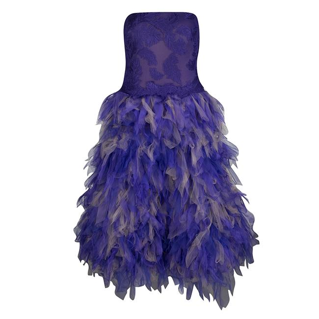 Preload https://img-static.tradesy.com/item/23818118/tadashi-shoji-purple-and-begie-tulle-embroidered-faux-feather-strapless-mid-length-short-casual-dres-0-0-650-650.jpg