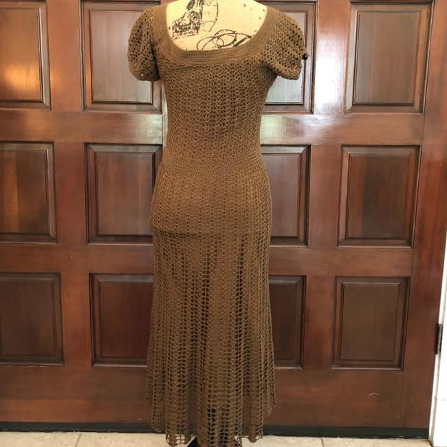 Betsey Johnson short dress Brown Crochet Midi Slip Stretchy on Tradesy