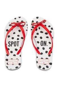 Kate Spade Womens Red Black White Maraschino Spot On Print Sandals