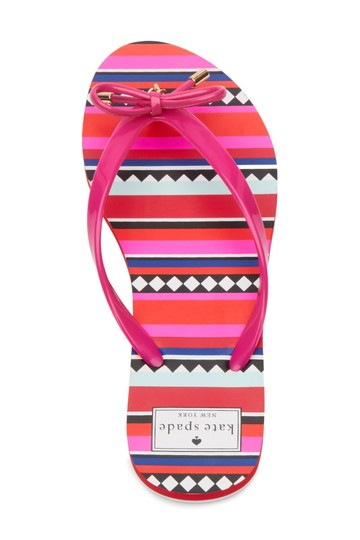 Kate Spade Womens Red Black White Pink Swirl Sandals