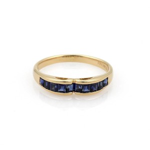 Tiffany & Co. Sapphire 18k Yellow Gold Stack Band Ring Size 7.75