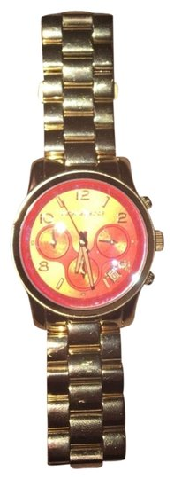 Preload https://item5.tradesy.com/images/michael-kors-red-iridescent-flash-lens-gold-watch-23818209-0-1.jpg?width=440&height=440