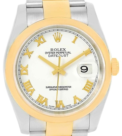 Preload https://item2.tradesy.com/images/rolex-white-datejust-36-steel-yellow-roman-dial-mens-116203-watch-23818226-0-1.jpg?width=440&height=440