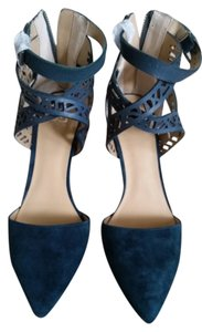 JOE'S Sexy Suede Ankle Strap Laser Cut Heels Strappy Blue Pumps