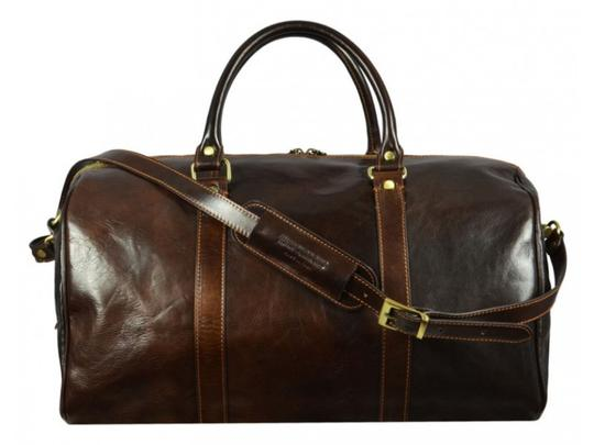 Time Resistance Leather Leather Duffel Leather Dark Brown Travel Bag