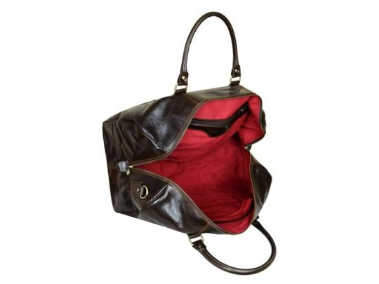Time Resistance Leather Leather Duffel Leather Dark Brown Travel Bag Image 1
