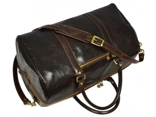 Time Resistance Leather Leather Duffel Leather Dark Brown Travel Bag Image 2