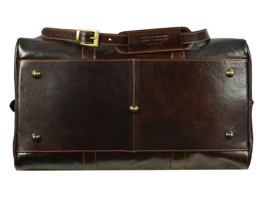 Time Resistance Leather Leather Duffel Leather Dark Brown Travel Bag Image 3
