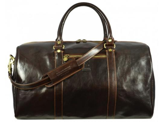 Time Resistance Leather Leather Duffel Leather Dark Brown Travel Bag Image 5
