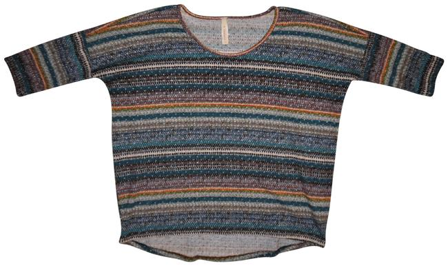 Preload https://item2.tradesy.com/images/multi-colored-striped-soft-mesh-like-see-thru-fabric-34-sleeves-sweaterpullover-size-8-m-23818256-0-2.jpg?width=400&height=650