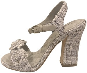 Chanel Ankle Strap Tweed Camellia Heels Lavender, White, Black Sandals