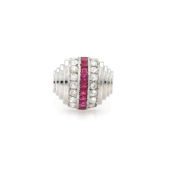 Preload https://img-static.tradesy.com/item/23818282/art-deco-190ct-old-minecut-diamond-ruby-18k-white-gold-dome-ring-0-0-540-540.jpg