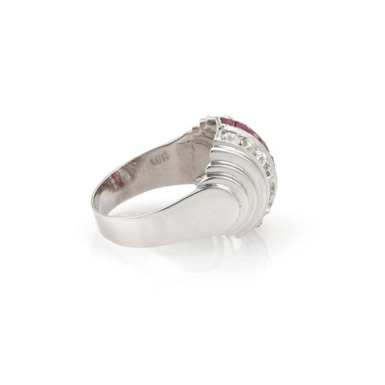 Other Art Deco 1.90ct Old MineCut Diamond Ruby 18k White Gold Dome Ring