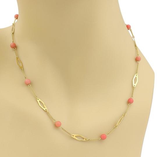 Preload https://item1.tradesy.com/images/vintage-18k-yellow-gold-coral-bead-fancy-link-necklace-23818315-0-1.jpg?width=440&height=440