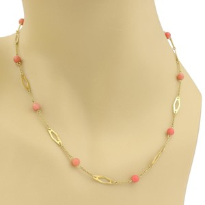 20a0797637c Other Vintage 18k Yellow Gold Coral Bead Fancy Link Necklace