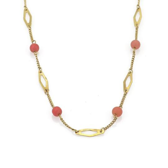Other Vintage 18k Yellow Gold Coral Bead Fancy Link Necklace