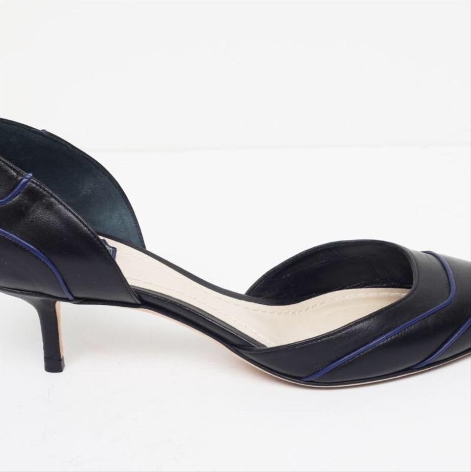b7b85cc4a Dior Black with Navy Leather D'orsay Pointy-toe Kitten Heel Pumps ...