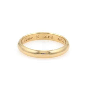 Cartier 18k Yellow Gold 3.5mm Dome Wedding Band Ring Size 58-US 8.75 w/Cert